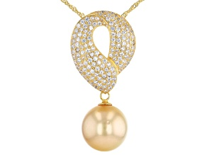 Pre-Owned Golden Cultured South Sea Pearl & White Zircon 1.50ctw 18k Yellow Gold Over Sterling Silve