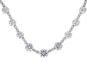 Pre-Owned White Cubic Zirconia Rhodium Over Sterling Silver Necklace 74.42ctw