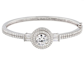 Pre-Owned White Cubic Zirconia Rhodium Over Silver Bracelet 11.06ctw