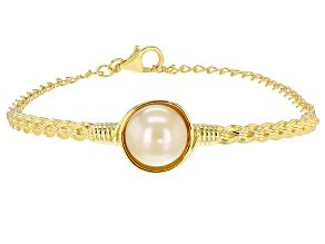 Pre-Owned Golden Cultured South Sea Pearl 18k Yellow Gold Over Sterling Silver 7 Inch Bracelet