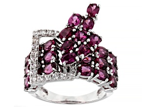 Pre-Owned Purple Oval Rhodolite With Round White Zircon Rhodium Over Sterling Silver Ring 5.81ctw