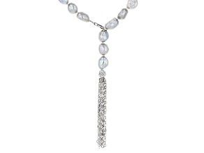 Pre-Owned 7-8mm Silver Cultured Freshwater Pearl Rhodium Over Sterling Silver Tassel Drop 24 inch Ne