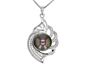Pre-Owned 11mm Cultured Tahitian Pearl 0.31ctw White Topaz Rhodium over Silver Pendant with Chain