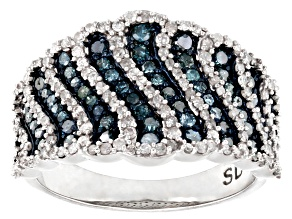 Pre-Owned Blue And White Diamond Rhodium Over Sterling Silver Wide Band Ring 1.15ctw