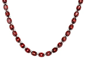 Pre-Owned Red Garnet Rhodium Over Sterling Silver Necklace 61.00ctw