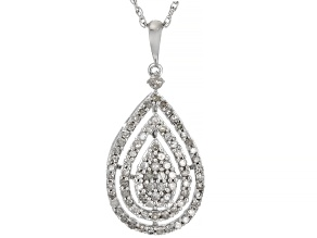 Pre-Owned White Diamond Rhodium Over Sterling Silver Cluster Pendant With Chain 0.60ctw