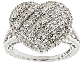 Pre-Owned White Diamond Rhodium Over Sterling Silver Heart Cluster Ring 0.95ctw