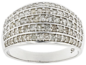 Pre-Owned White Diamond Rhodium Over Sterling Silver Wide Band Ring 0.90ctw