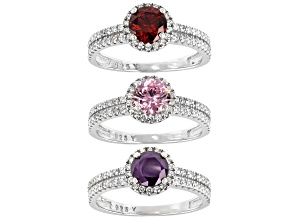 Pre-Owned Purple, Red, Pink And White Cubic Zirconia Rhodium Over Sterling Silver Rings- Set of 3 5.