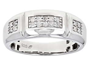 Pre-Owned White Diamond Rhodium Over Sterling Silver Mens Band Ring .30ctw