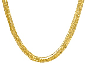 Pre-Owned 18k Yellow Gold Over Bronze Singapore Chain Necklace 24 inch