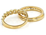 Pre-Owned White Diamond 14k Yellow Gold Over Sterling Silver Band Set 0.10ctw