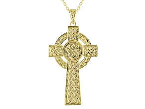 Pre-Owned 18K Yellow Gold Over Sterling Silver Celtic Cross Pendant with Cable Chain