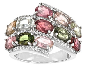 Pre-Owned Multi-color Tourmaline Rhodium Over Silver Ring 4.85ctw