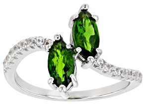 Pre-Owned Green Russian Chrome Diopside Rhodium Over Silver Ring 1.24ctw