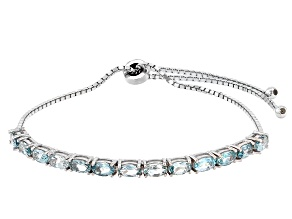 Pre-Owned Blue Topaz Rhodium Over Sterling Silver Bracelet. 3.25ctw