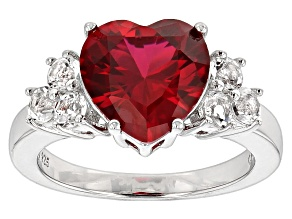 Pre-Owned Red Lab Created Ruby Rhodium Over Sterling Silver Ring 4.38ctw