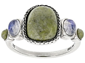 Pre-Owned Connemara Marble & Rainbow Moonstone Silver Ring