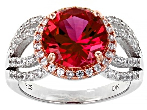 Pre-Owned Orange Lab Created Padparadscha Sapphire Rhodium & 18k Gold Over Silver Ring 4.84ctw