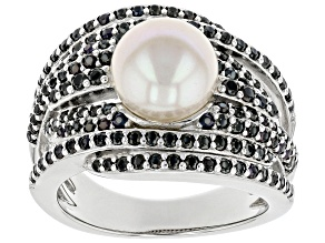 Pre-Owned White Cultured Freshwater Pearl & Black Spinel Rhodium Over Sterling Silver Ring