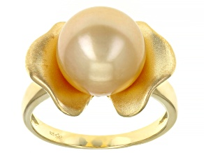 Pre-Owned Golden Cultured South Sea Pearl 18k Yellow Gold Over Sterling Silver Ring