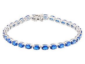Pre-Owned Blue Lab Created Spinel Rhodium Over Sterling Silver Bracelet 11.76ctw
