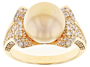 Pre-Owned Golden Cultured South Sea Pearl With White Lab-Grown Diamonds 0.83ctw 14k Yellow Gold Ring