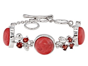 Pre-Owned Red Coral Sterling Silver Bracelet 2.39ctw