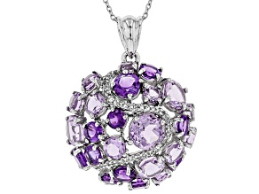 Pre-Owned Purple Lavender Amethyst rhodium over silver pendant with chain 8.14ctw