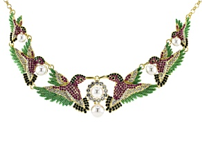 Pre-Owned  Multi-color Crystal  Hummingbird Necklace