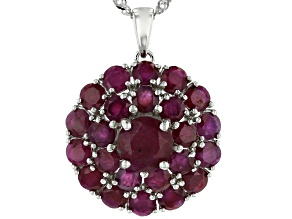 Pre-Owned Red Ruby Rhodium Over Silver Pendant With Chain 6.75ctw