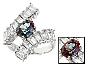 Pre-Owned Lab Created Color Change Alexandrite Sterling Silver Bypass Ring 3.52ctw