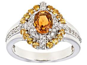 Pre-Owned Orange Spessartite Rhodium Over Silver Ring 1.97ctw