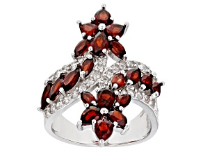Pre-Owned Red Garnet Rhodium Over Silver Ring 3.48ctw