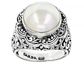 Pre-Owned Cultured White Mabe Pearl Sterling Silver Solitaire Ring