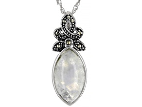 Pre-Owned White rainbow moonstone sterling silver pendant with chain