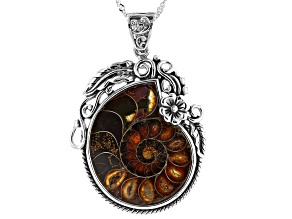 "Pre-Owned Ammonite Shell Sterling Silver Enhancer With 18"" Chain"