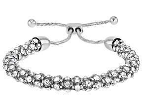 Pre-Owned Silver Tone Crystal Bolo Bracelet