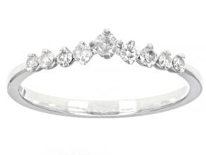 Pre-Owned White Diamond 10k White Gold Chevron Band Ring 0.25ctw