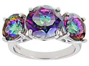 Pre-Owned Multicolor Quartz Rhodium Over Sterling Silver 3-Stone Ring 7.04ctw