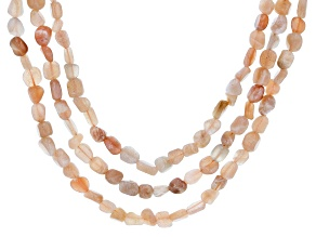 Pre-Owned Peach Moonstone Sterling Silver 3-Row Necklace