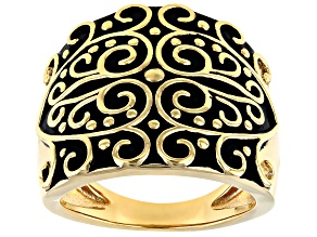 Pre-Owned 18k Gold Over Silver Filigree Ring