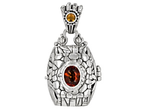 Pre-Owned Orange Madeira Citrine Sterling Silver Locket Pendant 1.44ctw