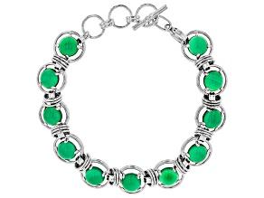 Pre-Owned Green onyx sterling silver bracelet