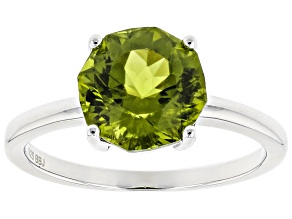 Pre-Owned Green peridot sterling silver ring 2.67ct