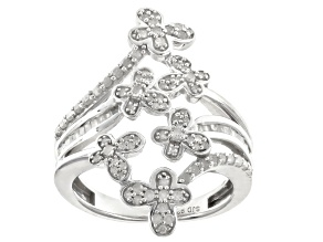 Pre-Owned White Diamond Rhodium Over Sterling Silver Ring .65ctw