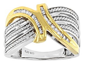 Pre-Owned White Diamond Rhodium And 14K Yellow Gold Over Sterling Silver Bypass Ring 0.20ctw