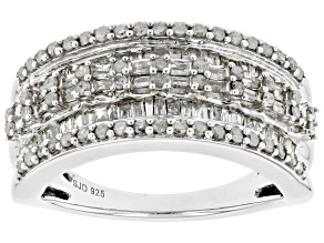 Pre-Owned White Diamond Rhodium Over Sterling Silver Wide Band Ring 1.10ctw