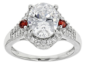 Pre-Owned Red And White Cubic Zirconia Rhodium Over Sterling Silver Ring 4.95ctw