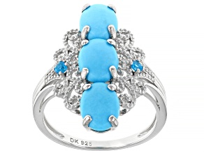 Pre-Owned Blue Sleeping Beauty Turquoise Rhodium Over Silver Ring .07ctw